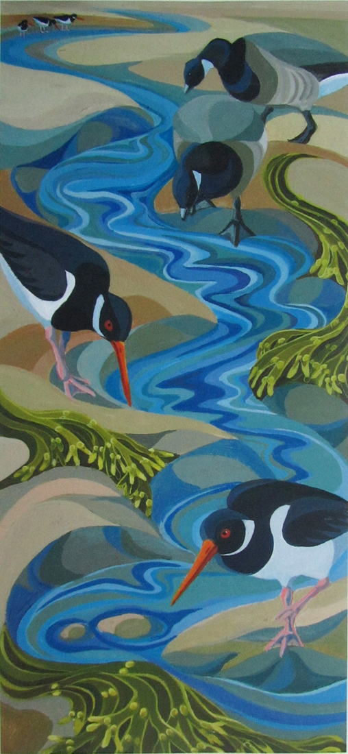 oystercatchers in creek