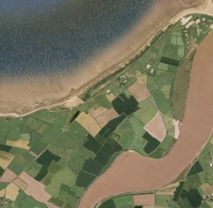 Aerial plan view - Atlantic marsh creation BEFORE