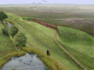 Artist impression of viewing point overlooking Atlantic marshes
