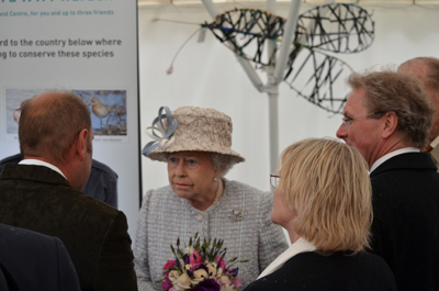 The Queen with Jason Debney of Thames Landscape Strategy, Marian Spray, and WWT Chief Executive Martin Spray