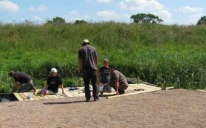 Volunteer group building pond-dipping platform