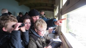 Mike Dilger birding with a young family in the new Headley Discovery Hide at London Wetland Centre