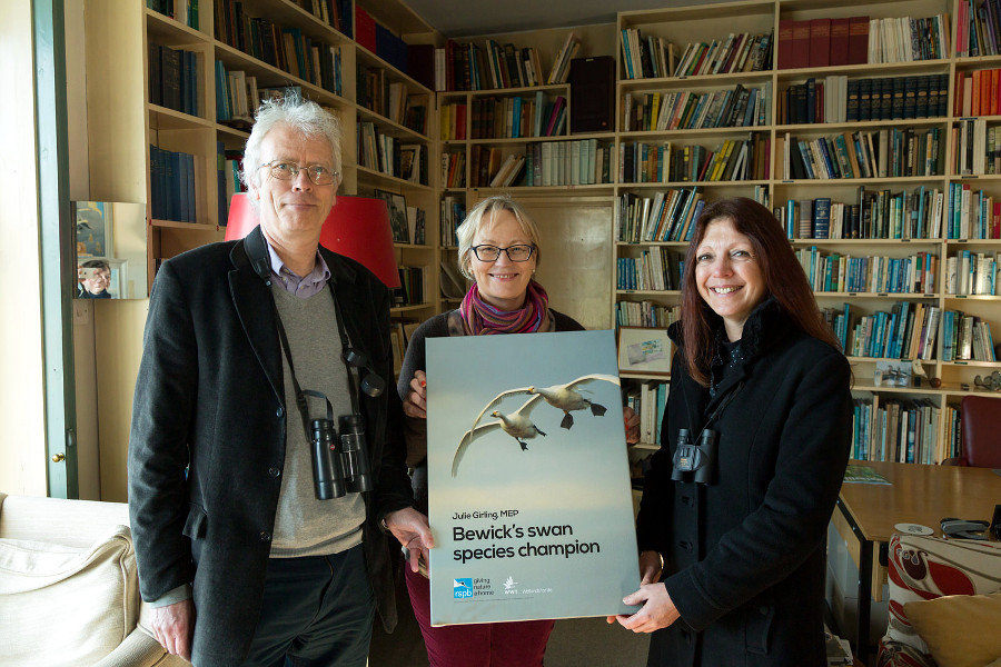 RSPB's Paul Buckley and WWT's Dr Debbie Pain with Julie Girling MEP in Sir Peter Scott's studio