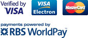 Visa, Visa Electron, MasterCard. Powered by RBS WorldPay