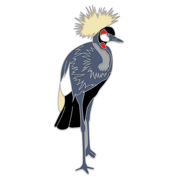 Grey Crowned Crane Pin Badge