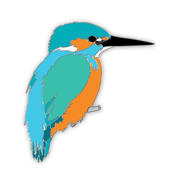 Kingfisher pin badge