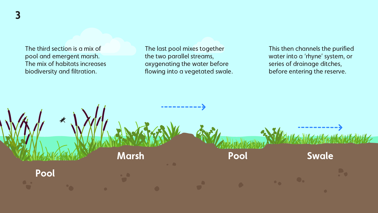 Wetland water treatment system - part 3 - pools and more marsh